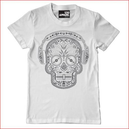 Skull & Phones DJ T-shirt - White